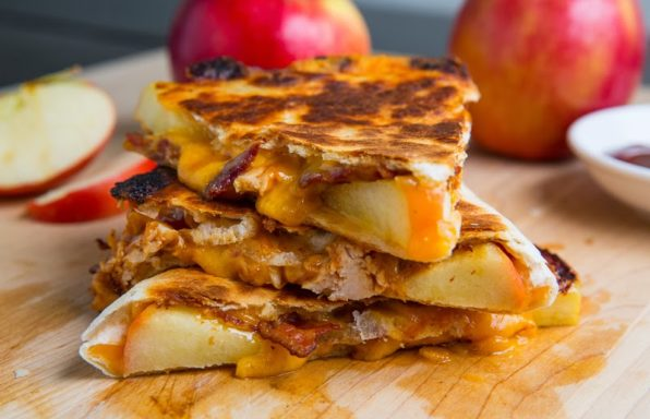 BBQ Chicken Apple Bacon Quesadillas