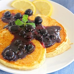 Lemony Pancakes with Blueberry Salsa