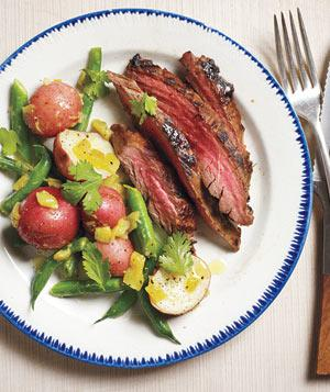Pineapple marinated steak with spicy potatoes